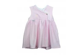 Vestido rosa de piqué cruzado en el pecho