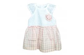 Vestido combinado blanco perforado y falda de cuadros rosas con cubrepañales a juego