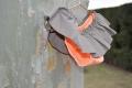 Culetín naranja con volante marrón