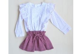 Vestido glitter rosa y falda de punto
