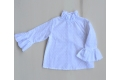 Camisa blanca de plumeti volante en cuello y mangas