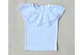 Camiseta blanca doble volante plumeti en el cuello