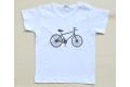 Camiseta blanca con bicicleta bordada marrón