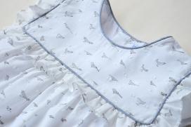 Vestido blanco plumeti pájaros