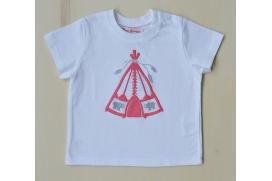 Camiseta blanca niño con tienda de indi