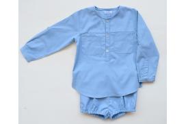 Camisa azul vaquero con cuello mao
