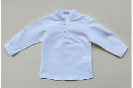 Camisa blanca de lino con cuello mao