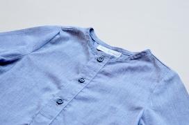 Camisa color azul vaquero cuello mao