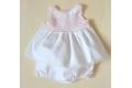 Conjunto vestido y pololos blanco de piqué con cuerpo de punto rosa