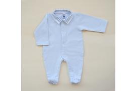 Pijama con abertura delantera y con bolsillos y pies de cuadros vichy