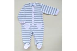 Pijama tundosado de rayas con bolsillos
