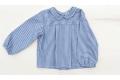 Camisa con cuello bebé de rayas marino y grises